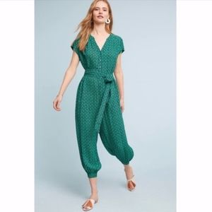 Anthropologie | Maeve Green Geoscope Jumpsuit